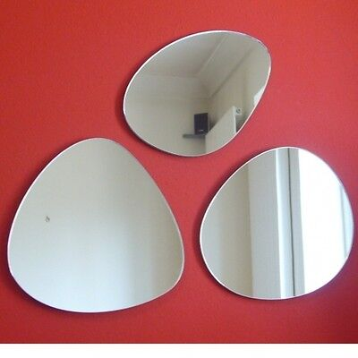 Three Pebble Shaped Mirrors (Shatterproof Safety Acrylic Mirror Several Sizes) • 39.99£
