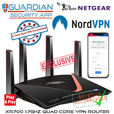 Netgear XR700 X10 Nord Pre-Loaded Guardian VPN APP Router 3Yrs VPN Inc Plug Play • 591£