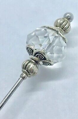 Beautiful  Hat Pin Vintage Antique Tibetan Silver Style 5  & Pin Protector • 4.99£