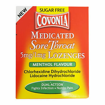 Covonia Medicated Sore Throat Menthol Flavour Lozenges - 36 • 7.99£