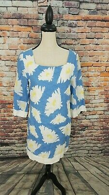 $40.49 • Buy Island Company 3/4 Sleeve Blue White Floral 100% LINEN Knee Length Chica Dress M