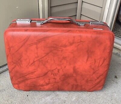View Details Red Vintage Suitcase American Tourist 16 X 21 Marble • 69.00$