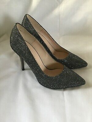 PETER KAISER Gunmetal Sparkly PEWTER Heel COURT SHOES Size 4 VGC • 19.99£
