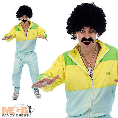 Shell Suit 80s Scouser Fancy Dress 1980s Party Mens Tracksuit Costume Outfit New • 14.99£