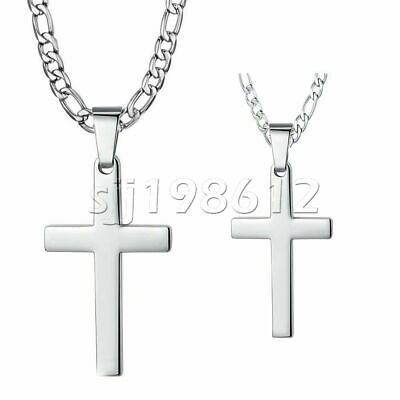 $7.99 • Buy Mens Women Silver Cross Pendant Necklace Stainless Steel Figaro Chain 18 -30