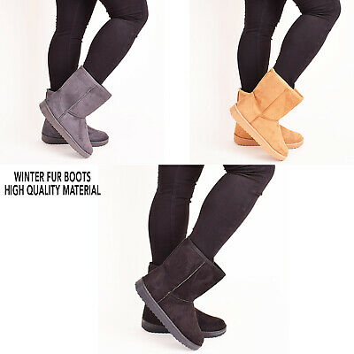 Ladies Womens Winter Fur Snow Flat Comfy Boots Casual Designer Shoes Size 3-8 • 16.99£