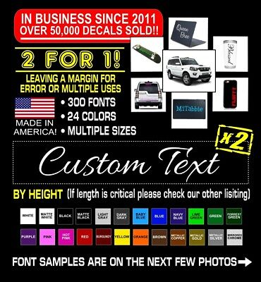 $3.99 • Buy 2x Custom Vinyl Decal Sticker Lettering Personalized Business Text Laptop Car #3
