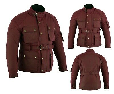 New OxBlood Motorcycle Cotton Waxed WP Lined Body Armour Motorbike Bikers Jacket • 68.42£