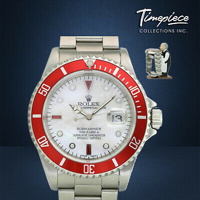 $ CDN12494.40 • Buy Rolex Watch Mens 40mm Steel Submariner 16610 Red Insert MOP Diamond Ruby Dial