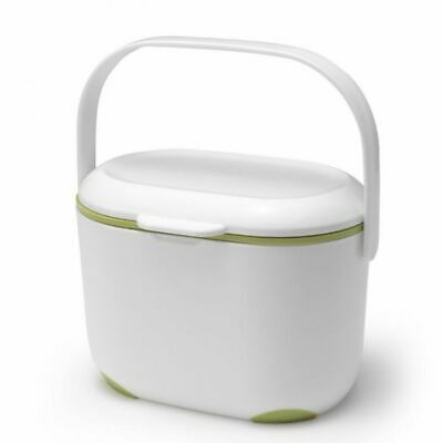 Addis 2.5 Litre Compost Recycling Caddy Bin Box With Lid & Handle - White/Green • 16.99£