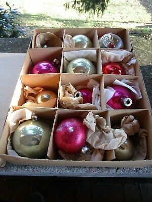 $ CDN12.64 • Buy 12 X Mixed Sizes Vintage Glass Christmas Ornaments- Stenciled- Indented- Org Box