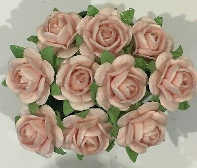 £1.25 • Buy 10 PALE  PINK MULBERRY PAPER OPEN ROSES/FLOWERS 1cm (10mm) And 1.5cm (15mm)