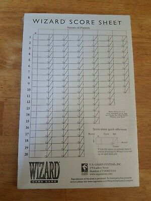 Extra Large Wizard Card Game Score Pad • 7.95$