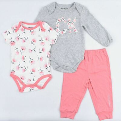 CALVIN KLEIN Baby Girls' 3-pc Set, 2x Bodysuits + Joggers, Pink/Grey/Floral • 28.99£