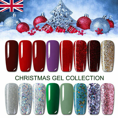 8ml Christmas Design UV Nail Gel Polish Glitter Soak Off UV Varnish Red Green • 2.99£