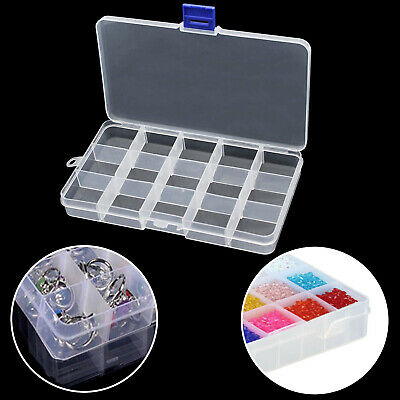 15 Compartment Plastic Storage Box Jewellery Crafts Earring Beads Case Container • 2.95£