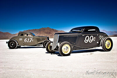AU14.31 • Buy 12x18 In Hot Rod Poster 1933 Ford Coupe, Salt Flats Garage Art Man Cave Decor