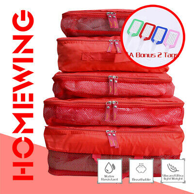 AU10.95 • Buy 5Pcs Packing Cube Cubes Travel Pouch Luggage Organiser Suitcase Storage Bags