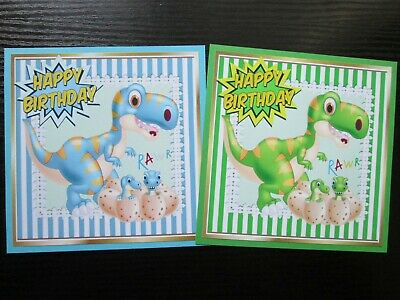 2 X Happy Birthday DINOSAURS Card Making  Toppers Great For Kids Cards • 1.20£