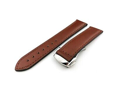 BROWN Shiny Flat Genuine Leather Strap Fit OMEGA Watch  20 22mm + Tools And Pins • 29.90£
