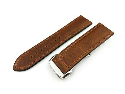 BROWN VINTAGE Flat Genuine Leather Strap Fit OMEGA Watch  20 22mm + Tools/pins • 29.90£