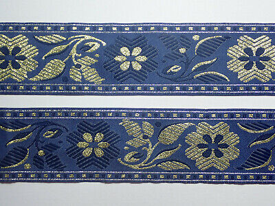 £1.45 • Buy Blue And Gold Wide Embroidered Jacquard Woven Ribbon Trim Braid 60mm PER METRE
