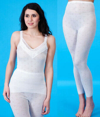 £5.99 • Buy Ladies Thermal Lace Trim French Neck Snowdrop Fleece Spencer Vest & Long Johns.