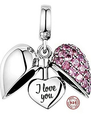 💖 I Love You Heart 925 Sterling Silver Bead Charm Mum Wife Daughter Pink 💖 • 14.99£