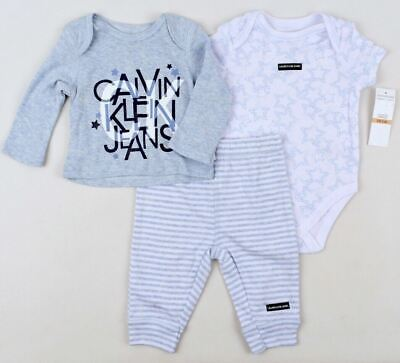 CALVIN KLEIN Baby Boys' 3pc Outfit Set Top / Joggers / Bodysuit, 0 To 18 Months • 29.99£
