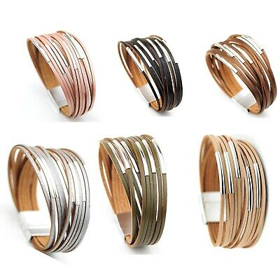 Contemporary Style Multi Strand Leather Bracelet 6 Silver Tubes Magnetic Clasp • 7.99£