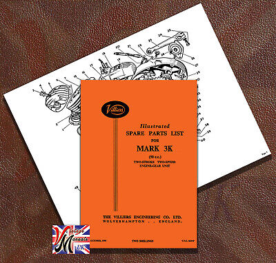 VILLIERS Mark 3K 2-Stroke Engine Illustrated Spare Parts List  - Spiral Bound • 6.75£