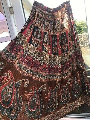 NEW LONG INDIAN COTTON SKIRT FREE SIZE BOHEMIAN  ETHNIC Hippie FoLk DRAWSTRING • 5.99£