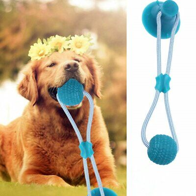 AU17.84 • Buy Pet Dog Interactive Ropes Toys Self-Playing Rubber Chew Ball Toy+Suction Cup Red
