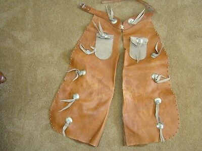 $99 • Buy Vintage Cowboy Chaps, Child's Or Youth. Leather With Pockets, Made In Racine WI