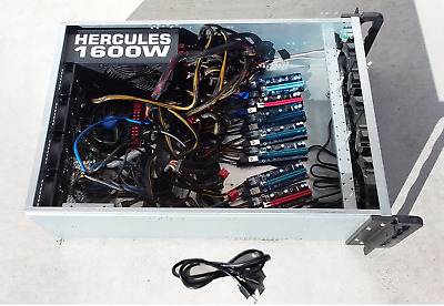 8 GPU Crypto Currency W10 Mining Rig Ethereum Bitcoin I7-4790S 3.20GHz 8GB RAM • 299.99$