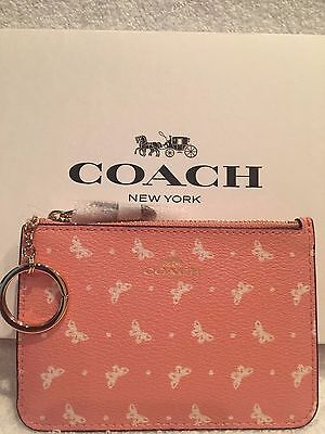 $32 • Buy COACH  Coin Key Pouch With Gusset Butterfly Dot Print Blush/Chalk-NWT(Gift Box)