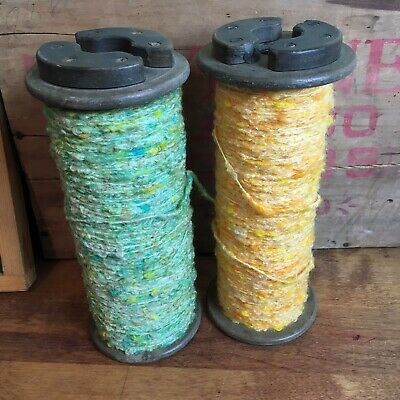 $24 • Buy Vintage Wooden Industrial Spools Lestershire Thread Spindle Nubby Yarn Lot