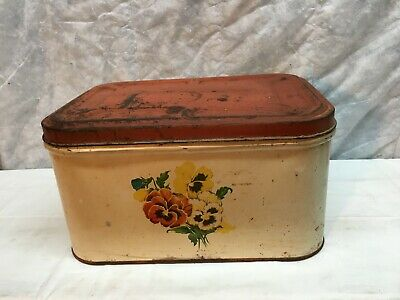 $35.99 • Buy Vtg Primitive Cottage Metal Tin Bread Box  Red & White Retro 40s Floral Litho