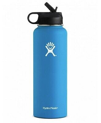 Hydro Flask Wide Mouth Stainless Steel Bottle With Straw Lid 40oz Pacific Blue • 39$