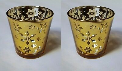 Yankee Candle Set Of Two Christmas Design Snowflake Votive Holders In Gold  • 8.99£