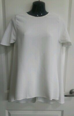 AU71.20 • Buy SCANLAN THEODORE White Viscose Crepe A-line Top, Size 12 Summer Career Wear