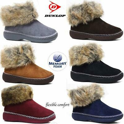 Ladies Slippers Women Dunlop Memory Foam Fur Thermal Ankle Boots Warm Shoes Size • 14.95£
