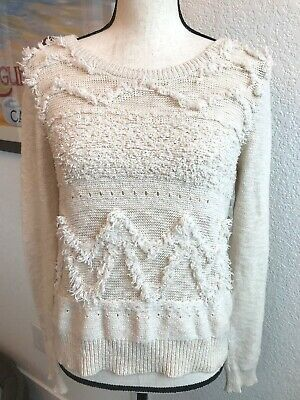 $ CDN35.78 • Buy Moth Anthropologie Textured Knit Sweater Ivory Fray Fringe Crew Neck Small