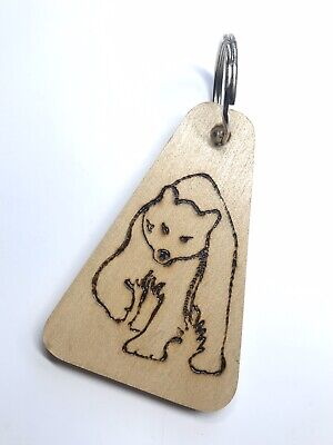Bear Design Wooden Key Ring Pyrographed Onto A Sycamore Key Fob. • 8.99£