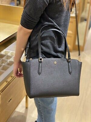 NWT Tory Burch Authentic Emerson Top Zip Tote Handbag Purse Leather Black 64188  • 207.95$