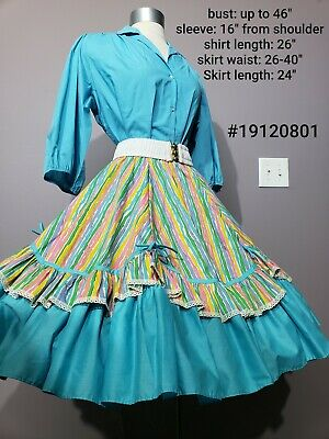 Turquoise Striped Square Dance Dress Partners Please Malco Modes Rockabilly • 20$