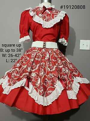 Square Dance Dress 2 Pc Outfit Skirt Blouse Square Up Red Floral & White Lace • 50$