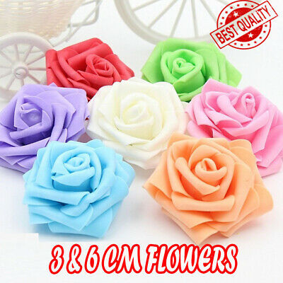 100 Pcs Large 6CM Artificial Flowers Foam Rose Heads Wedding Party Decor Bouque  • 8.99£