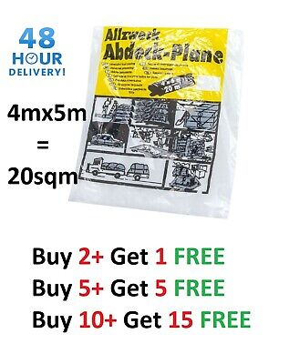 LARGE 4M X 5M CLEAR POLYTHENE DUST SHEET MASKING FOIL PAINTING COVER Sale Price! • 2.89£