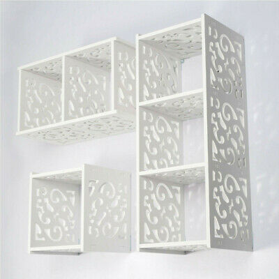 White Cube WPC Wooden Wall Cube Floating Shelf Display Storage Unit Cubes Shelve • 17.49£